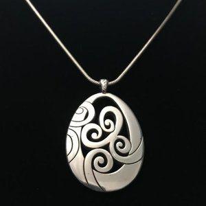 Brighton Silver Tone Necklace w/ Teardrop Pendant